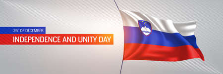 Slovenia happy independence and unity day greeting card, banner vector illustration. Slovenian national holiday 26th of December design element with 3D waving flag on flagpole
