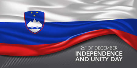 Slovenia happy independence and unity day greeting card, banner with template text vector illustration. Slovenian memorial holiday 26th of December design element with 3D flag with ornament Illustration