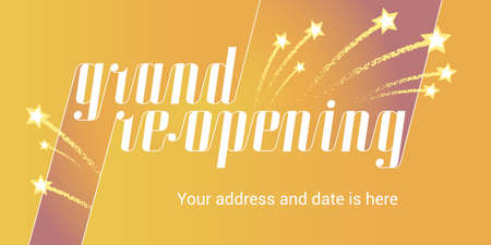 Grand opening or re opening vector background. Fireworks with stars design element for poster or banner for opening or re-opening event