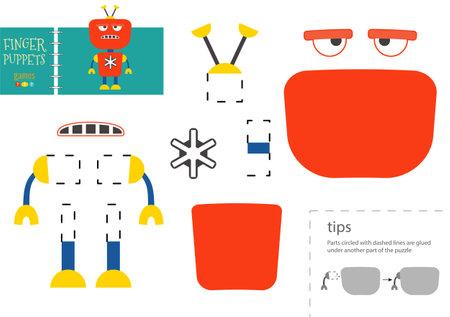 Cut and glue paper toy. Preschool kids vector educational worksheet