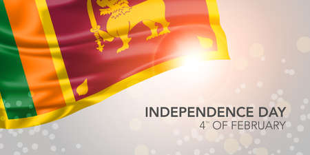 Sri Lanka happy independence day vector banner, greeting card. Sri Lankan realistic wavy flag in 4th of February national patriotic holiday horizontal design Vector Illustration