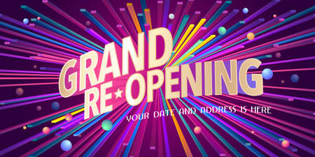 Grand opening or re-opening vector illustration, background