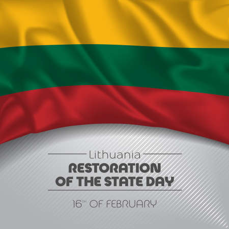 Lithuania happy restoration of the state day greeting card, banner vector illustration Ilustración de vector