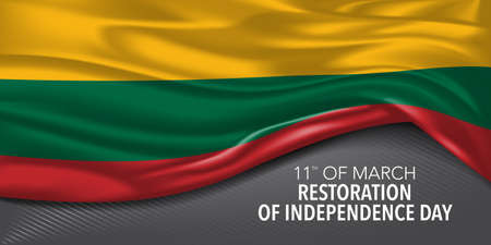 Lithuania happy restoration of independence day greeting card, banner with template text vector illustration