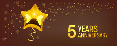 5 years anniversary vector icon. Graphic element with golden color balloon