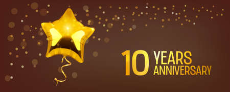 10 years anniversary vector icon. Graphic element with golden color balloon