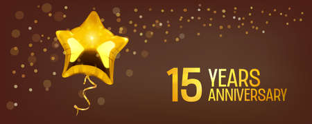 15 years anniversary vector icon. Graphic element with golden color balloon