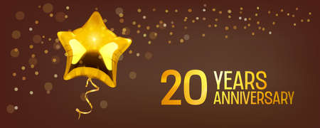 20 years anniversary vector icon. Graphic element with golden color balloon 矢量图像
