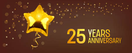 25 years anniversary vector icon. Graphic element with golden color balloon