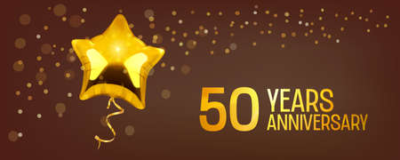 50 years anniversary vector icon. Graphic element with golden color balloon