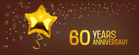 60 years anniversary vector icon. Graphic element with golden color balloon