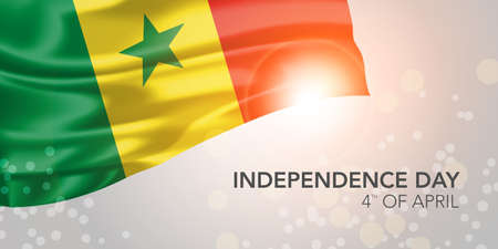 Senegal happy independence day vector banner, greeting card 矢量图像