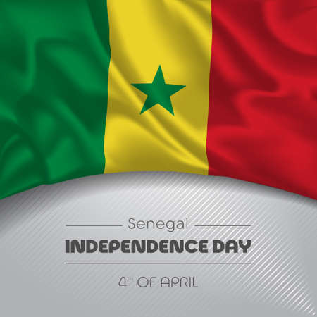 Senegal happy independence day greeting card, banner vector illustration