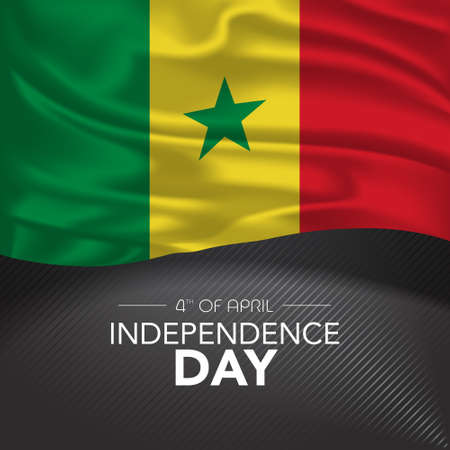 Senegal happy independence day greeting card, banner, vector illustration