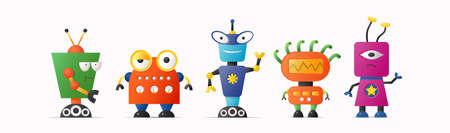 Set of cute vector robot characters for kids. Funny vintage style robotics