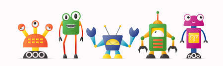 Set of cute vector robot or monster characters for kids.