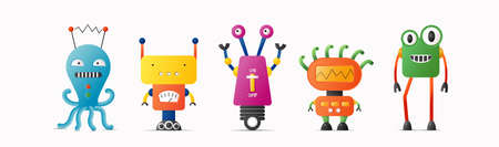 Set of cute vector robot characters for kids. 4 funny vintage style robotics 矢量图像