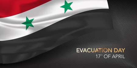 Syria evacuation day greeting card, banner with template text vector illustration 矢量图像