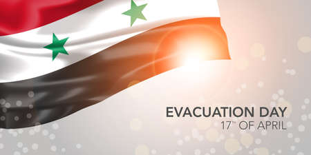Syria happy evacuation day vector banner, greeting card.