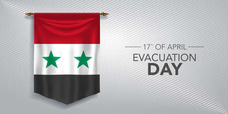 Syria evacuation day greeting card, banner, vector illustration