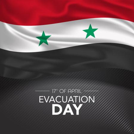 Syria happy evacuation day greeting card, banner, vector illustration