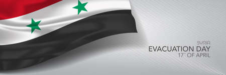 Syria evacuation day vector banner, greeting card