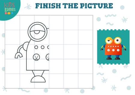 Copy picture vector illustration. Complete and coloring game for preschool and school kids