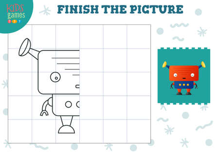 Complete the picture vector illustration. Finish and coloring game for preschool and school kids
