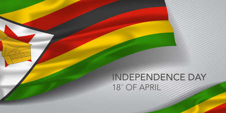 Zimbabwe happy independence day greeting card, banner with template text vector illustration. 矢量图像