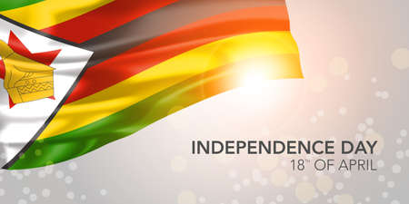 Zimbabwe happy independence day vector banner, greeting card