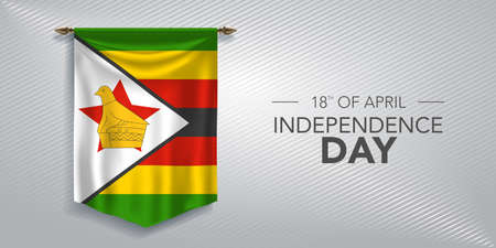 Zimbabwe independence day greeting card, banner, vector illustration