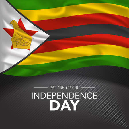 Zimbabwe happy independence day greeting card, banner, vector illustration