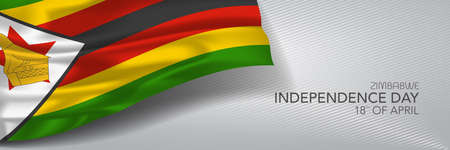 Zimbabwe independence day vector banner, greeting card