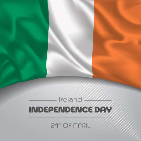 Ireland happy independence day greeting card, banner vector illustration