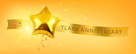 5 years anniversary vector icon. Graphic symbol with golden color balloon