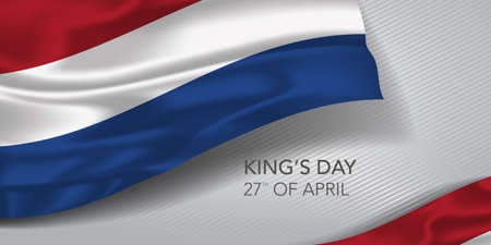 Netherlands happy kings day greeting card, banner with template text vector illustration 矢量图像