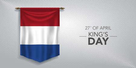 Netherlands kings day greeting card, banner, vector illustration 矢量图像