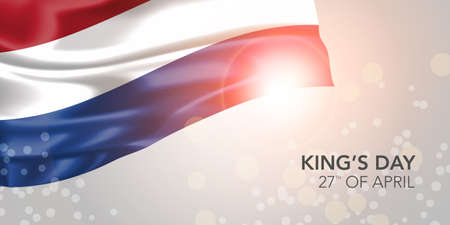 Netherlands happy kings day vector banner, greeting card 矢量图像