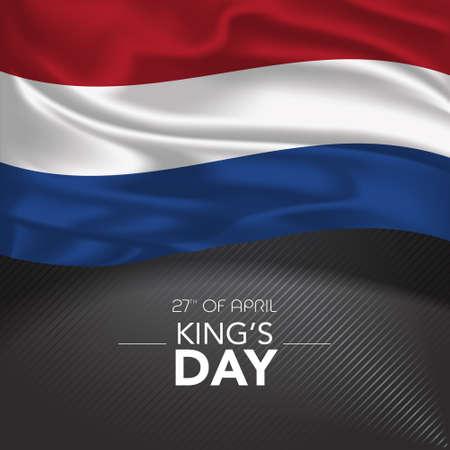 Netherlands happy kings day greeting card, banner, vector illustration 矢量图像