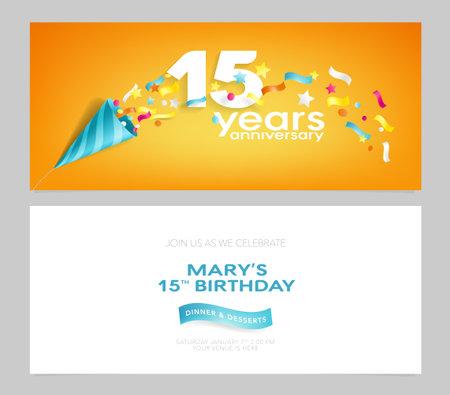 15 years anniversary invitation card vector illustration. Design template element