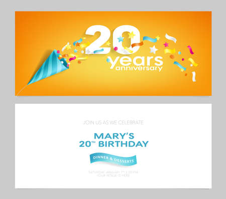 20 years anniversary invitation card vector illustration. Design template element