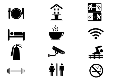 no swimming: Hotel icons illustration