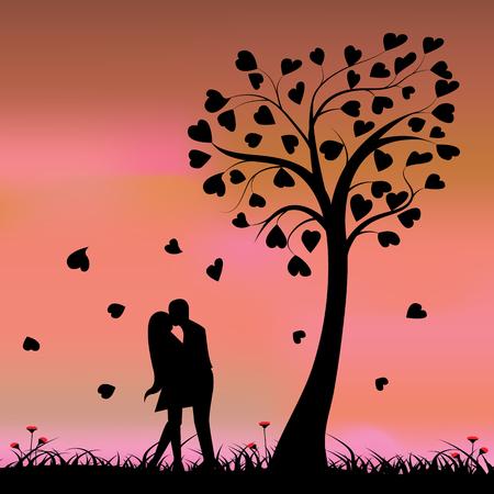 love tree: Two enamored under a love tree, illustration. Illustration