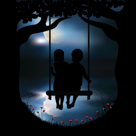 night moon: Vector illustration girl and boy playing swings.