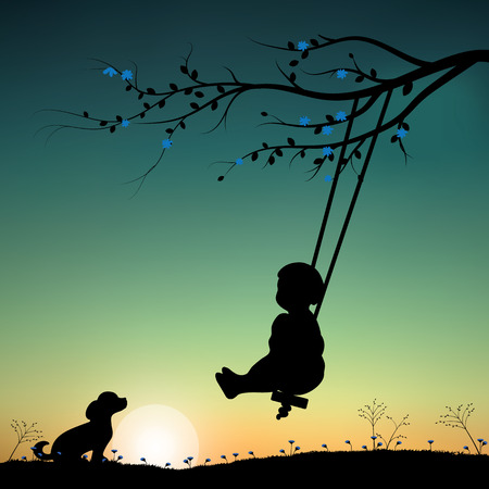 night moon: Vector illustrations, child playing the swings