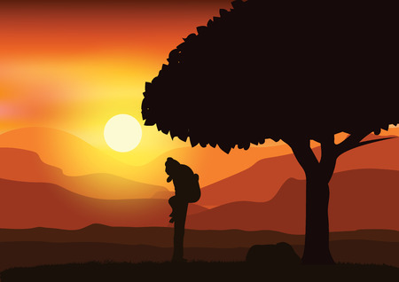 sunsets: Romantic under the tree, Vector illustrations