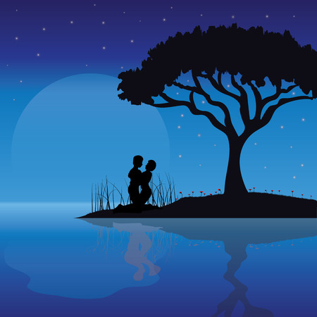 romance: Romance Under the Moon, Vector illustrations