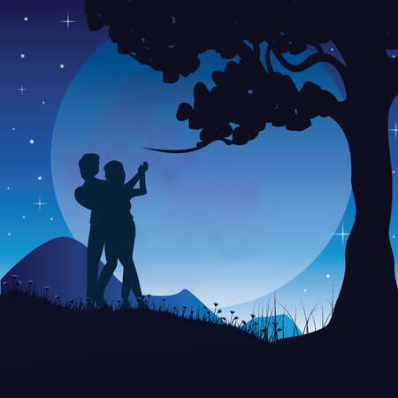 romantic couple: Romance Under the Moon, Vector illustrations