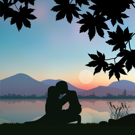 romantic: Romantic under the tree, illustrations
