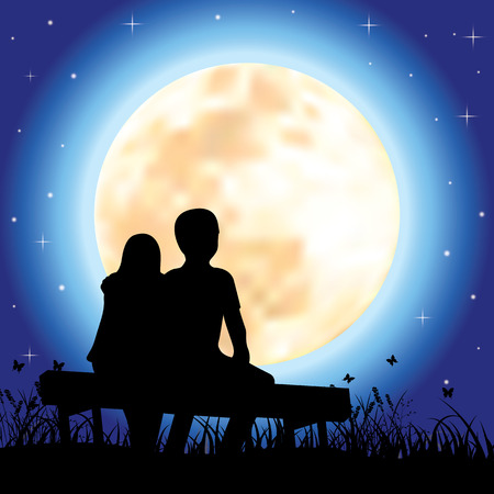 romantic: Romantic under the moonlight, illustrations